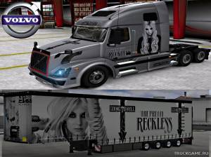 "Мод ""Volvo VNL 670 Pretty Reckless Skin & Trailer"" для Euro Truck Simulator 2"