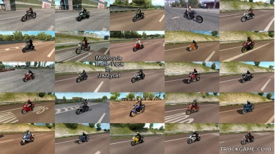 "Мод ""Motorcycle traffic pack by Jazzycat v3.7"" для Euro Truck Simulator 2"