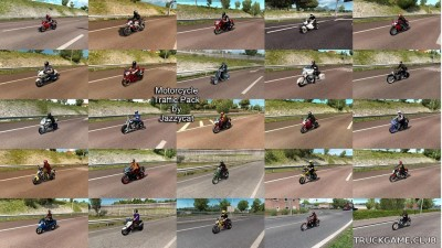 "Мод ""Motorcycle traffic pack by Jazzycat v3.8.6"" для Euro Truck Simulator 2"